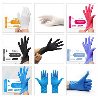 100x Strong Clear Powdered Vinyl Gloves Latex Free Disposable Medical Rubber