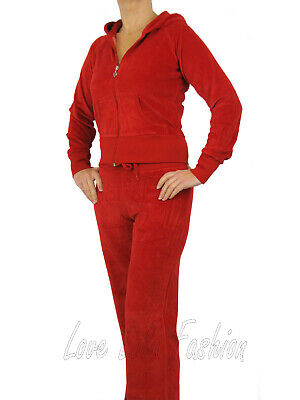 Womens Velour Tracksuit Brand New Full Suit Red Size 16-18