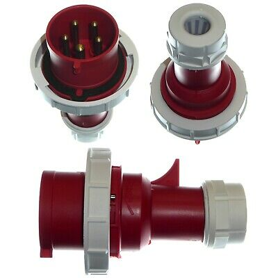 32A 5 Pin Plug IP67 Waterproof 3P+N+E 380 - 415V Fast-Fit 32 Amp Red 3 Phase