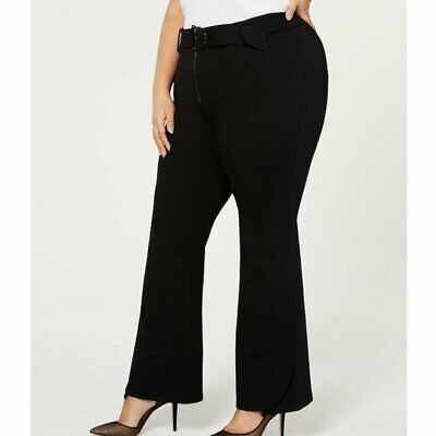 INC Solid Black Belted Ponte Bootcut Dress Pants Womens Size 20WP Petite Career
