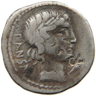 ROME REPUBLIC C. VIBIUS PANSA APOLLO / QUADRIGA COUNTERMARKS #t87 387
