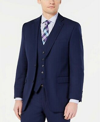 $260 Perry Ellis Men's Portfolio Slim-Fit Stretch Navy Solid Suit Jacket 46L