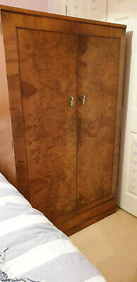 ART DECO WALNUT VENEER WARDROBE 61 x 36 x 19.5 inches (155 x 91.5 x 49.4 cm)