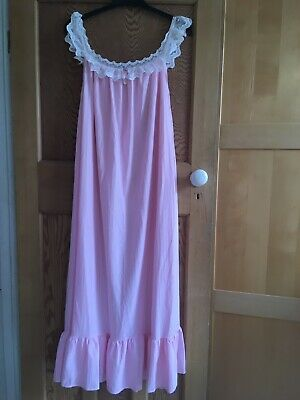 Vintage Polyester Lace Pink Nightie Nightgown Full Length  Approx Size 14
