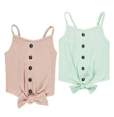 Girls Firetrap Strappy Low Back Ribbed Bow Button Vest Top Sizes from 7 to 13