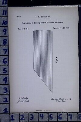 1871 Schucht Goffrie London England Piano Sound Board Music Patent Litho 122196