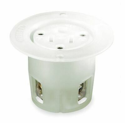 HUBBELL WIRING DEVICE-KELLEMS 15A Industrial Flanged Receptacle, White; Tampe...
