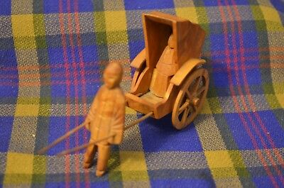 Vintage Miniature Wooden Hand Carved RICKSHA Figure & Buggy-Much Detail