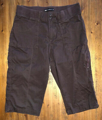 Womens Lee Relaxed Fit Brown Capri Crop Pant Soft Waistband Size 10