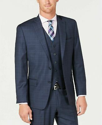 $600 Michael Kors Regular Fit Blue Check Stretch Suit Jacket 36S