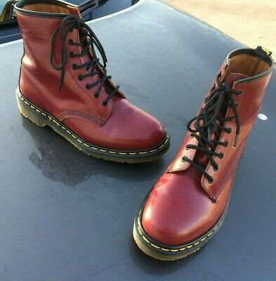 Vintage Dr Martens 1460 cherry red leather boots UK 9 EU 43 Made in England