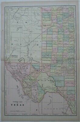 Original 1900 Railroad Map WEST TEXAS Amarillo El Paso Fort Davis Marfa Midland