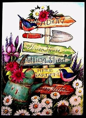 USED Bulbs Blue Bird Potted Flowers Shovel SUSAN WINGET  Birthday Greeting Card
