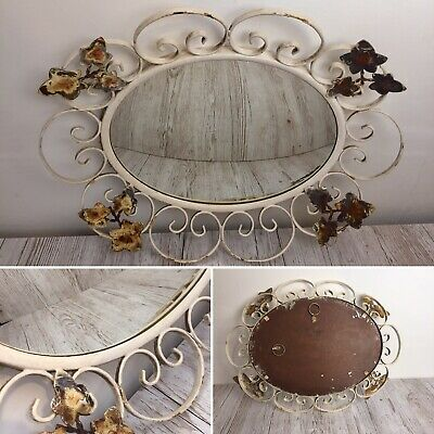 Vintage Wrought Iron Convex Fish Eye Mirror Arts Crafts Distressed Wall Ivy Chic