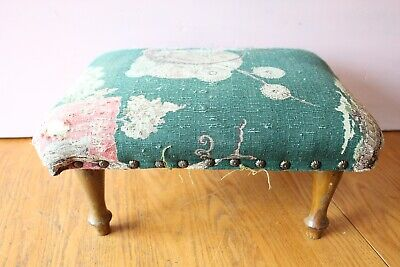 Vintage foot stool Handmade Upholstery Ottoman wooden legs Antique pouf Japanese
