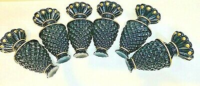 Six (6) x Vintage Plaster Pineapple Curtain Rod Finials from Historic Home