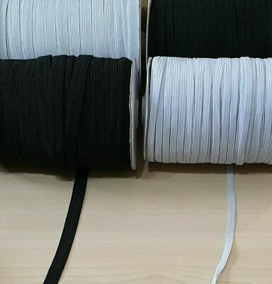 Flat Elastic Cord 6mm 8mm Black White Sewing Dressmaking Masks