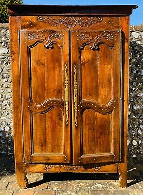Lovely Antique French Louis Xvi Walnut Brass Studded Armoire / Wardrobe C1780