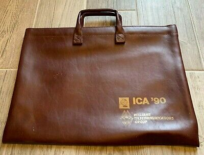 """Vintage 1990 ICA Briefcase Williams Telecommunications Carryall Bag 11x17"""" inch"""