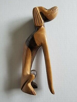 "Wood Dog Sculpture Mid Century Modern Hand Carved Teak 9 1/4"" Tall Tchotchke"