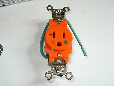 2 New Leviton 8310-Oig Single Receptacle Hospital Grade Orange 20A 125V