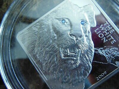 Malawi White Lion Swarovski Crystal Eyes 50 Kwacha 2009 2 oz Proof Silver Crown