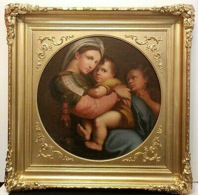19th CENTURY MADONNA and CHILD OLD WORLD ANTIQUE ITALIAN SCHOOL GOLD FRAMED