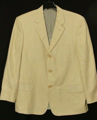 Peter Millar Linen Silk Wool Blend Tan Tweed Blazer Sport Coat Mens 42R Italy