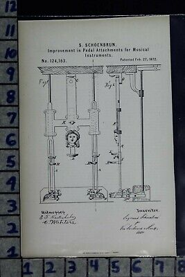 1872 Schoenbrun Ny Musical Instrument Pedal Piano Keyboard Patent Litho 124163