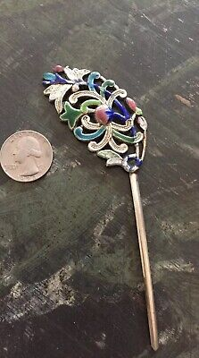 Antique Chinese Hairpin Floral Repousse Silver Enamel Cloisonne  Signed Vintage