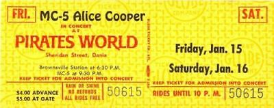 Alice Cooper 1971 Killers Tour Unused Pirates World Concert Ticket / Mc-5