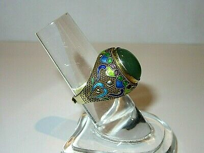 Vintage Chinese Export Silver Filigree & Enamel Ring with Jadeite Cabochon