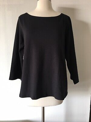 Eileen Fisher Black 100% Organic Cotton 3/4 Sleeve Top Size L