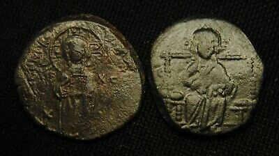 2 Byzantine Folles Christ Facing 6.68 & 6.47 grams 26-9 & 27-9mm circa 11th Cent