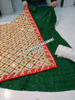 Chikan embroidered sequins work anarkali kurtis silk kashmiri gotta dupatta