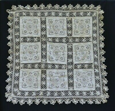 Antique Vintage Hand Made Crochet Lace Tablecloth Old Fabric