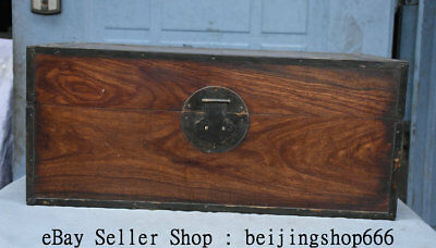 "20"" Antique Chinese Dynasty Huanghualli Wood Hand Carved Storage Box Container"