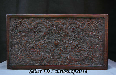 "16"" Old Chinese Huanghuali Wood Palace Dragon Lucky Storage jewelry Box cabinet"