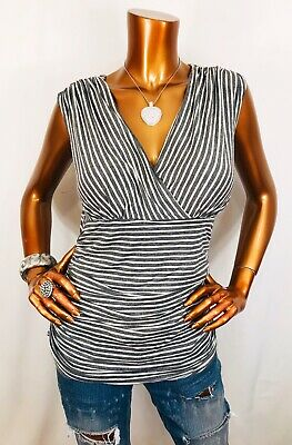 White House Black Market M Top Stretch Blouse Striped Sleeveless Crossbody V Nec