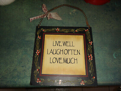 Hanging Decorative Sign Live Well Laugh Often Love Much