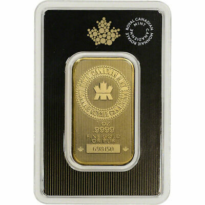 1 oz. Gold Bar - Royal Canadian Mint RCM - .9999 Fine in Assay from Canada