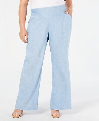 INC Womens PLUS Size Blue Linen Blend V-Front Wide-Leg Comfy Pants Size 16W