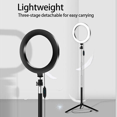 """7.9"""" LED Ring Light Kit With Stand Dimmable Makeup Phone Camera Selfie Lighting"""