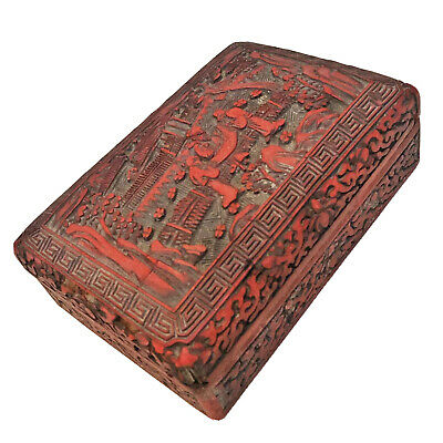 Antique 1600-1800's Hand Carved Chinese Red Cinnabar Lacquer Wooden Box Old