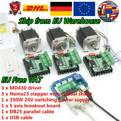 「Ger」3 Axis CNC Kit Nema 23 76mm Stepper Motor 270oz-in, 3A MD430 Driver Board