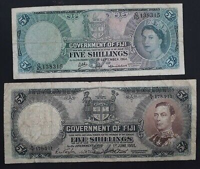 SCARCE 1951-64 Fiji Government pair of 5/- and 10/- Banknotes P 37 P 51d VG