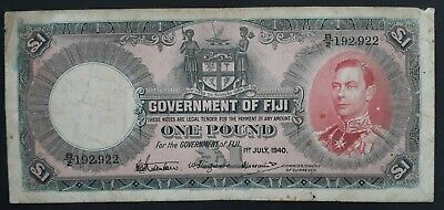 SCARCE 1940 Fiji Government £1 Banknote P 39c VG