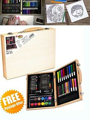 Deluxe Art Set In Wooden Case Craft Crayons Paints Drawing Kit For Kids Children