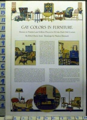 1920 Gay Color Bed Table Chair Art Decor Home Furniture Vintage Ad Ap59