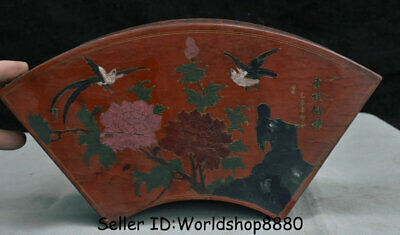 "12.6""Rare Old China Wood Lacquerware Dynasty Flower Birds Jewelry box jewel case"